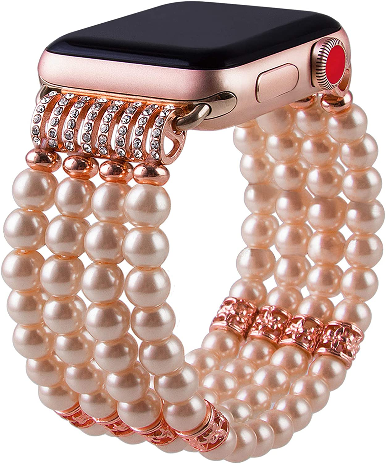 VIQIV for Handmade Beaded Compatitle Apple Watch Band 38mm 40mm 42mm 44mm Iwatch Series 5/4/3/2/1, Elastic Stretch Faux Pearl Bracelet Replacement Wristband Strap for Women Girls