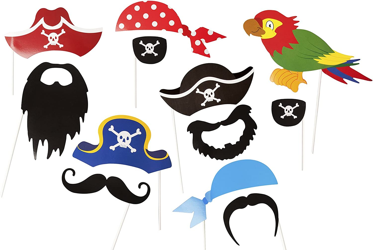 12 Colorful Props On A Stick Pirate Party Photo Accessories Birthday Paty Photo Booth Props by Roxan