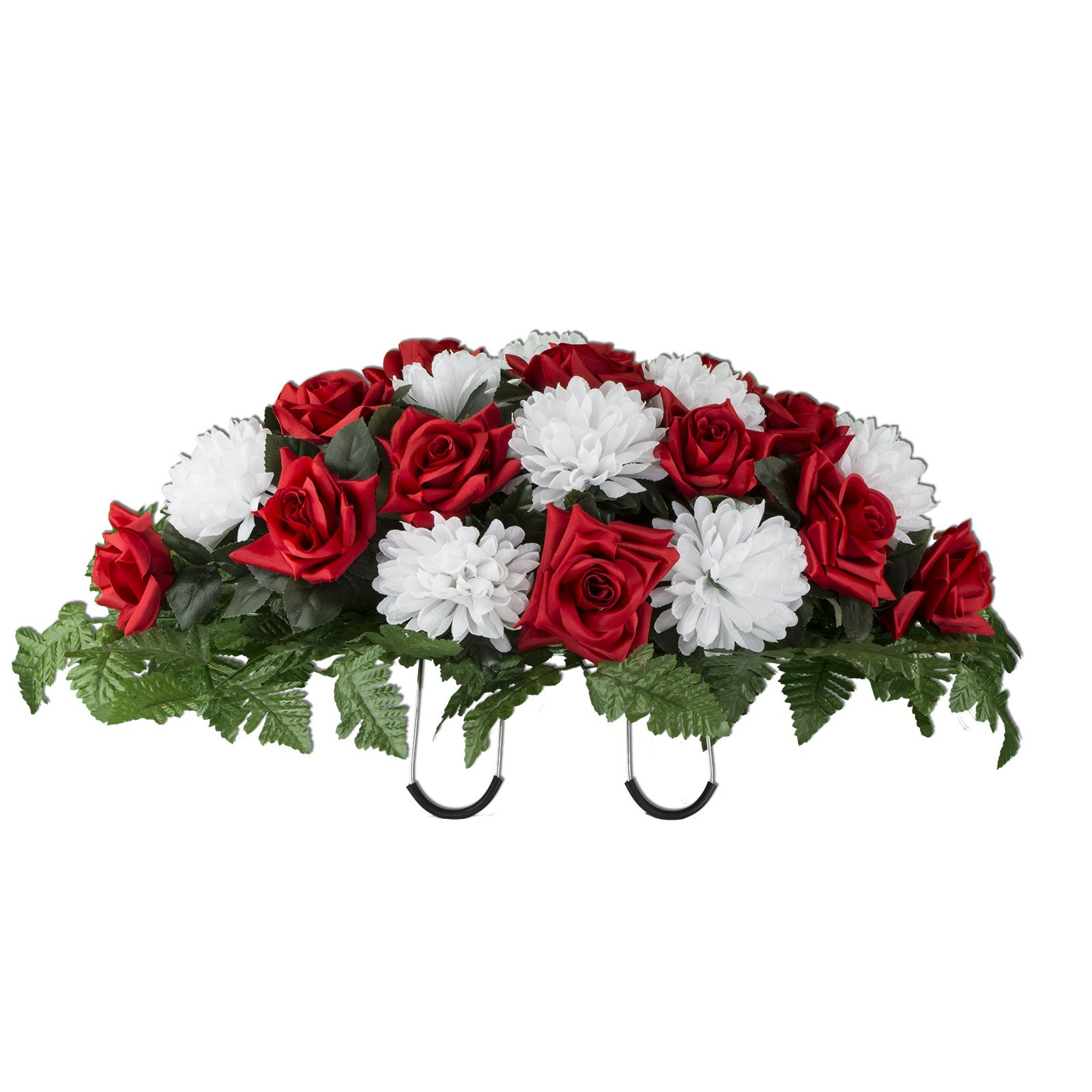 Red-Rose-and-White-Mum-Mix-Artificial-Saddle-Arrangement-SD2141