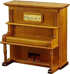HoneyGifts Windup Wooden Piano Music Box Xmas Present for Children Kids Girls, Upright Piano