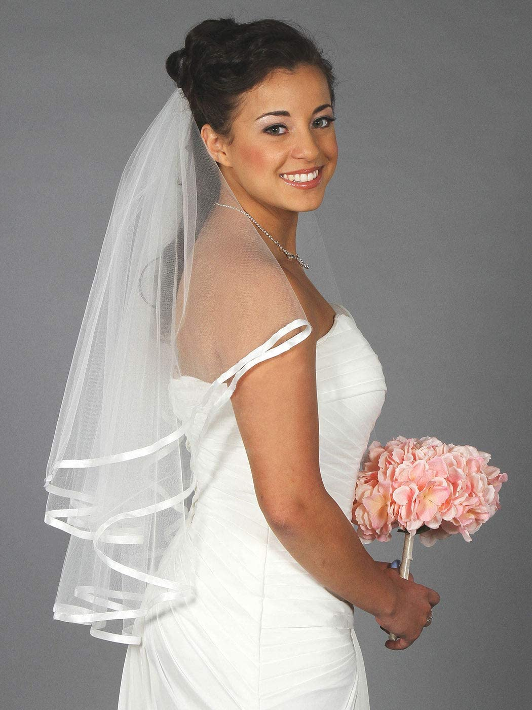 Ivory White 2t Bridal Wedding Veil Tulle with Comb Elbow Cut Edge Tier Satin
