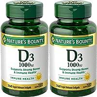 Nature's Bounty Vitamina D3-1000 IU, 700 cápsulas blandas (2 botellas de 350 unidades)