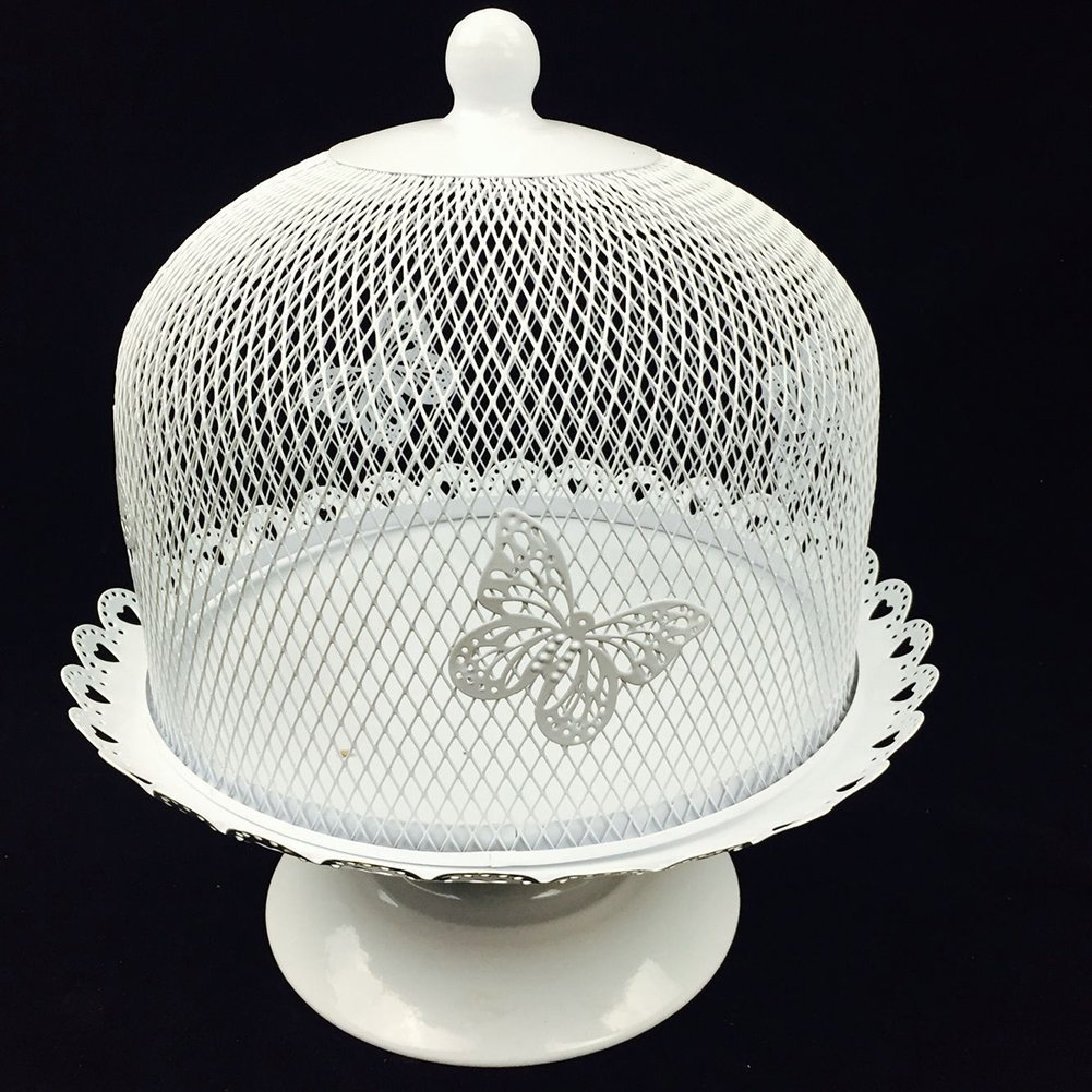 Cake Stand and Dome Lid,Cake Plate Rack Display Holder Metal for Tea Shop Room Hotel, Wedding Cake Dome,Serving Stand, Food Dome,Cake Display Presentation (White 1) Firegoing