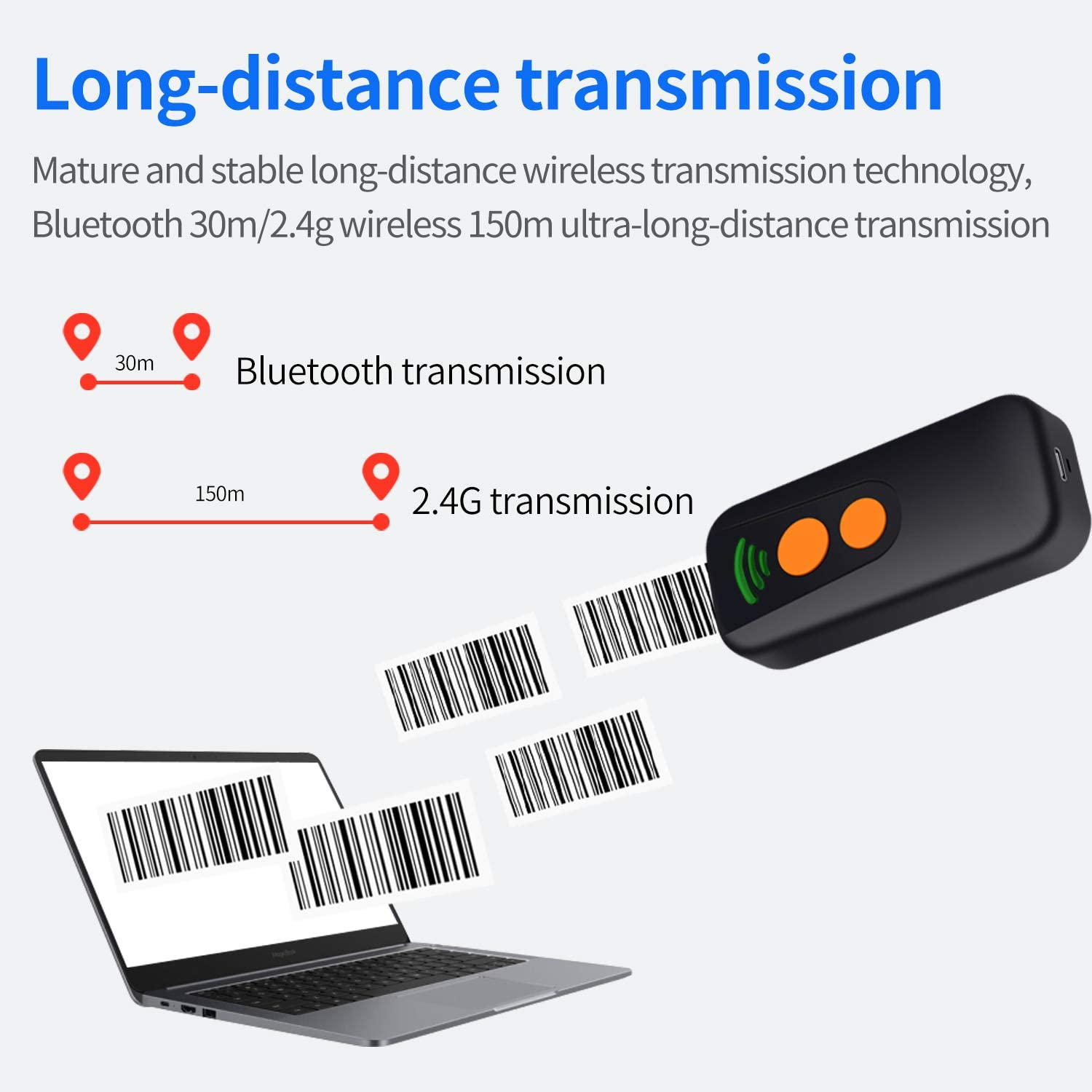 1D 2D Bluetooth Wireless Barcode Scanner,Symcode Portable QR Handheld Mini Barcode Reader for Windows,Android,iOS,Mac.Able to Scan Codes on Screen