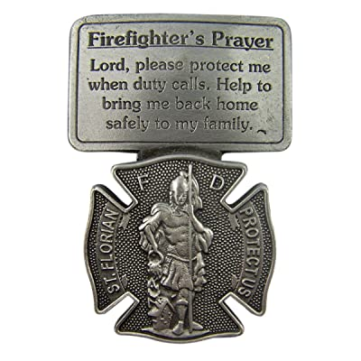 Fine Pewter Firefighter's Prayer Catholic Patron Saint Florian Visor Clip, 2 1/2 Inch: Automotive