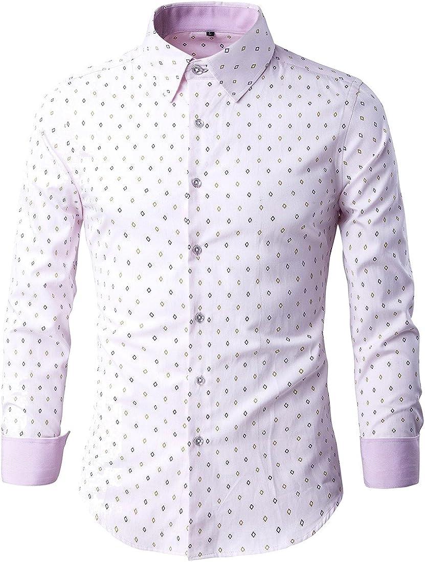 Vska Mens Fashion Floral Long Sleeve Turn Down Collar Polo Shirt