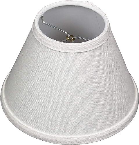FenchelShades.com Lampshade 4 Top Diameter x 8 Bottom Diameter x 6 Slant Height with Clip-On Attachment for Standard Edison-Style Lightbulb Designer Off White