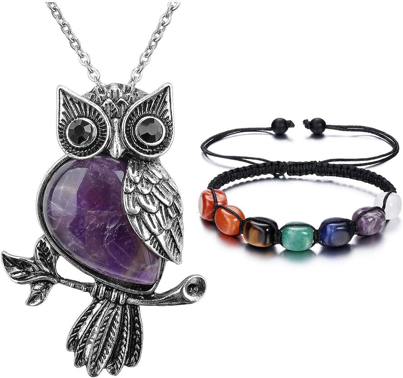 Aventurine quartz green bracelet with owl Pendant