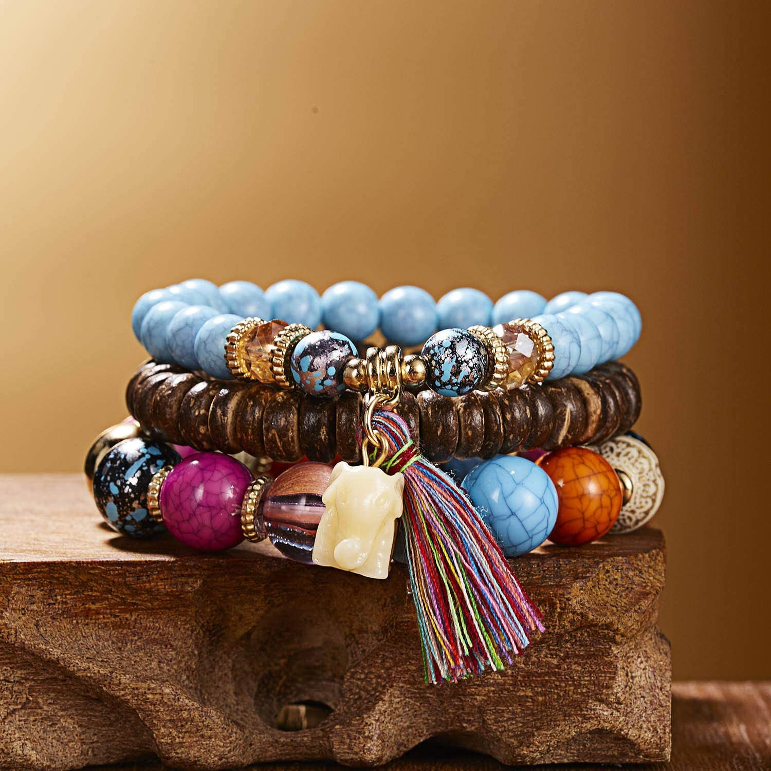 Stretchy Bracelet with Natural Gemstone and Leather Tassel