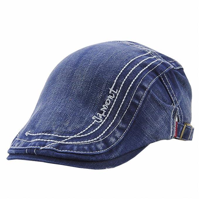 738ebfa9 LTFT Women's Denim Flat Ivy Cap Mens Gatsby Newsboy Hunting Driving Cabbie  Hat (Blue)
