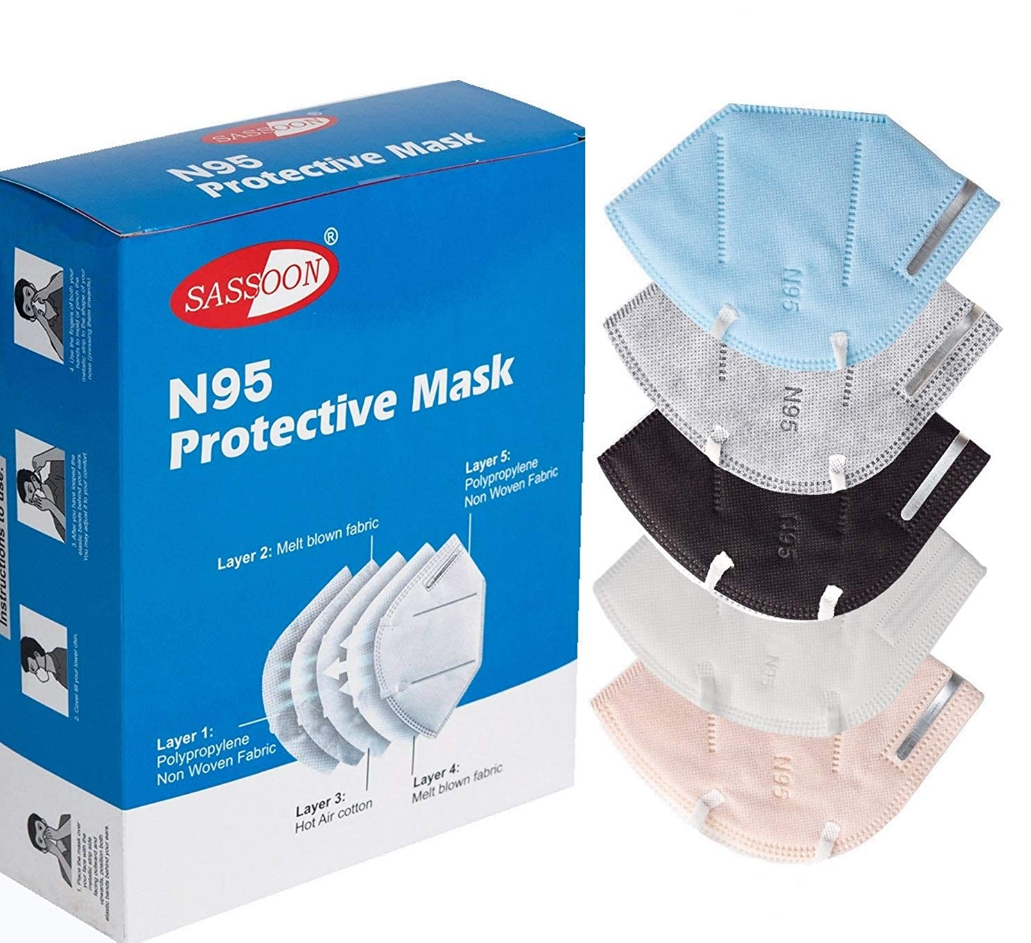 Sassoon Original without respirator masks for face n95 washable CE, FDA, DRDO, GMP, FFP2 Certified, Make In India Protective Mask, mask reusable washable, Protective Layer Mask