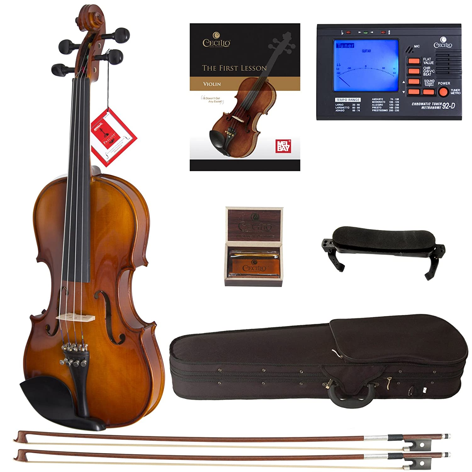 Cecilio CVN-300 Solidwood Ebony Fitted Violin with D'Addario Prelude Strings, Size 4/4 (Full Size) Cecilio Musical Instruments DA_4/4CVN-300+SR+92D+FB1