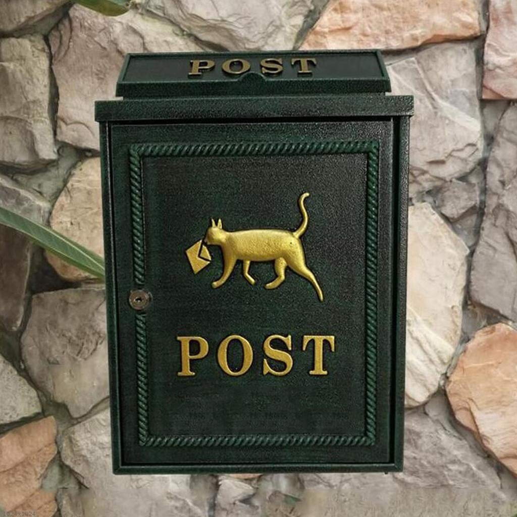 CJH European Cute Zinc Alloy Puppy Letter Box Wall-Mounted Mailbox Community Letter Box Letter Box Mailbox Green by CJH
