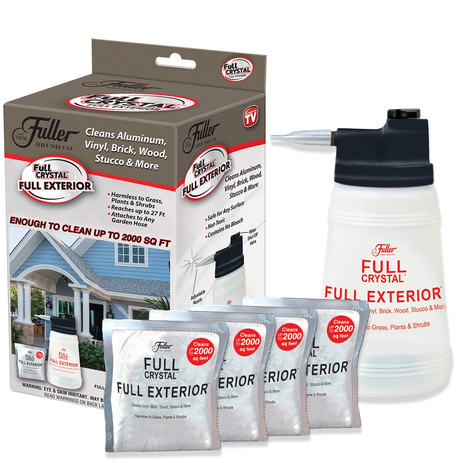Full Exterior Kit - Bottle, Lid with Hose Attachment and 1 lb. Crystal Powder Outdoor Cleaner (Cleans Up to 8,000 Sq. Ft): Non-Toxic, No Scrub, No Rinse Cleaning Kit by Full Crystal (Image #1)