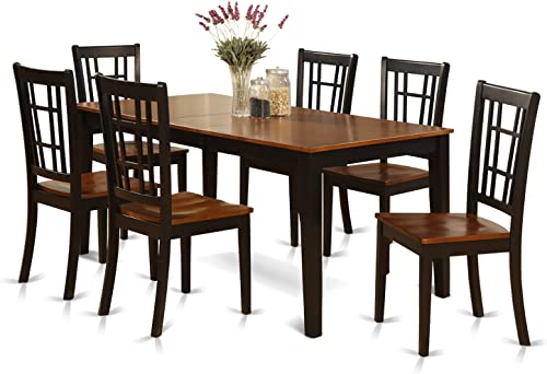 NICO7-BLK-W 7 Pc formal Dining room'set-Dining Table and 6 Chair