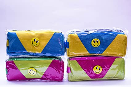 Shopkooky Bright Color Smiley Pen Pencil Pouch Case Perfect For Gifting Purpose Return Gifts Kids