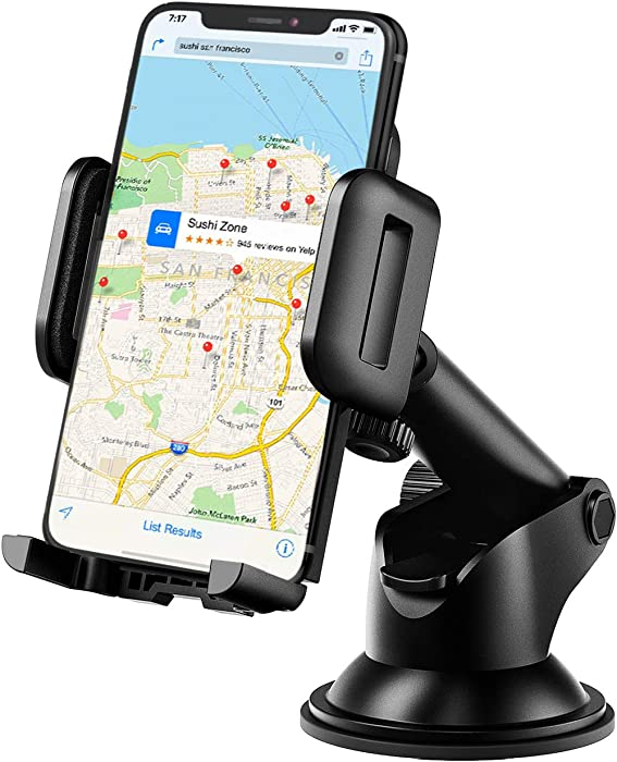 Mpow Dashboard Car Phone Mount, One-Touch Design Washable Strong Suction Cup Windshield Car Phone Holder Compatible with iPhone 11 Pro Max/XS Max/XR/X/8/7/6 Plus Etc