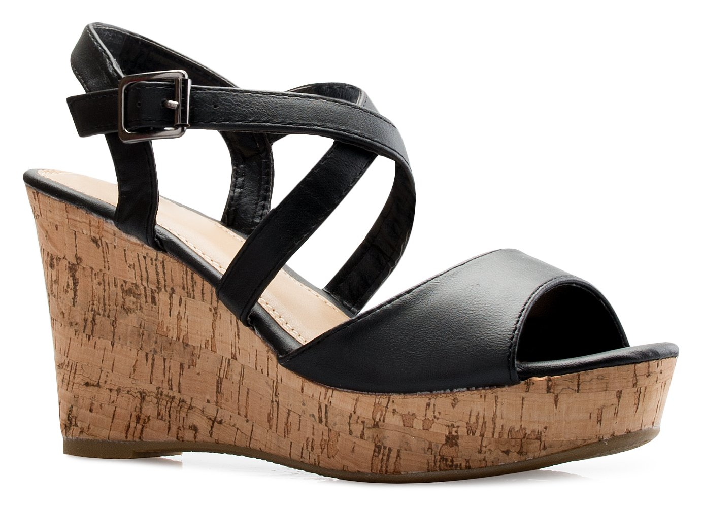 OLIVIA K Women's Open Toe Strappy Mid Wedge Heel Wood Decoration Buckle Shoes Sandals
