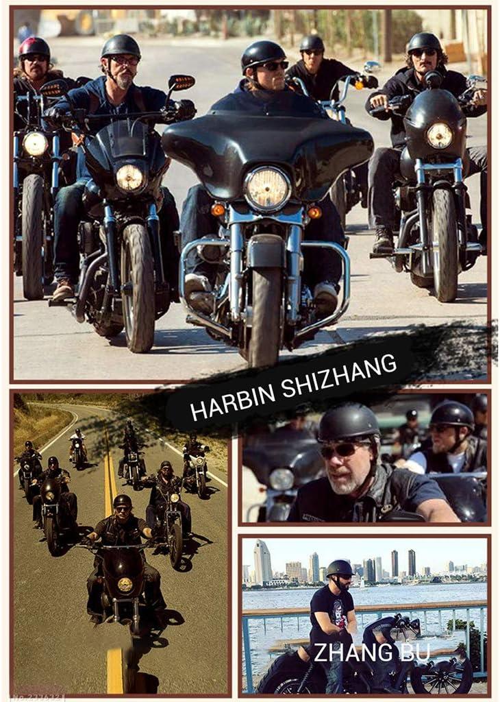 GAOZH retr/ò Moto Mezzo Casco,Certificazione ECE,Protezione Conchiglia Portatile Harley Casco Scodella,con Visiera UV Occhiali,Scooter Classic Jet Aperto Caschi,Confortevole Fodera Traspirante
