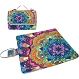 COOSUN Trippy Mandala Picnic Blanket Tote Handy Mat Mildew Resistant and Waterproof Camping Mat for Picnics, Beaches, Hiking, Travel, RVing and Outings