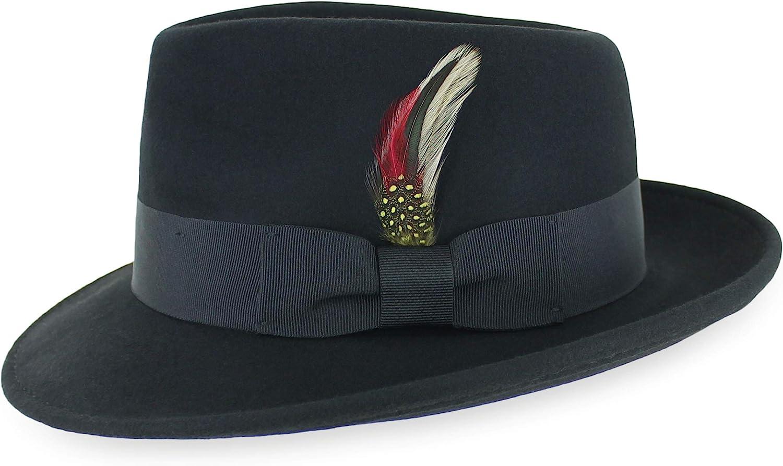 Belfry Gangster 100% Wool Stain Resistant Crushable Dress Fedora in Black Grey Navy Brown Pecan at  Men's Clothing store