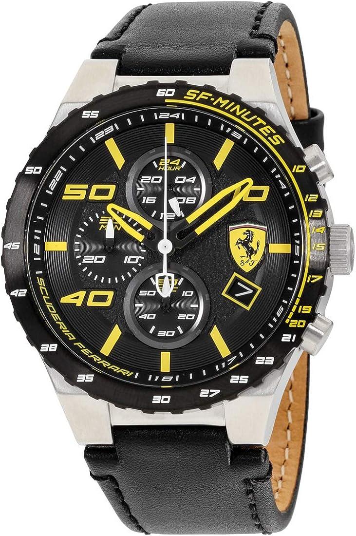 Scuderia Ferrari Men s Stainless Steel Quartz Watch with Leather Calfskin Strap, Black, 0.63 Model 830360