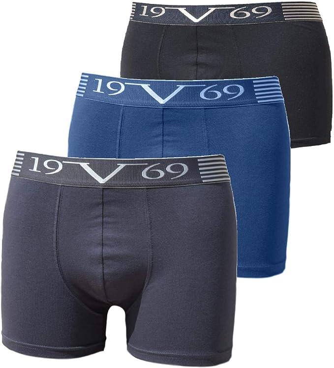 V1969 Boxers Hombre Pack 3 Algodon Calzoncillos Comodidad Superior Elastico Ajustado Caja de Regalo Negro-Azul-Gris S: Amazon.es: Ropa y accesorios