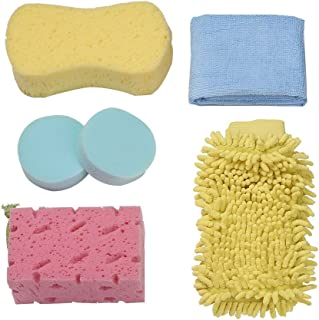 Jscarlife 5-in-1 Complete Car Care Kit-Heavy Duty Hydrophilic Sponge & Microfiber Wash Mitt & Multifunction Cleaning Cloth