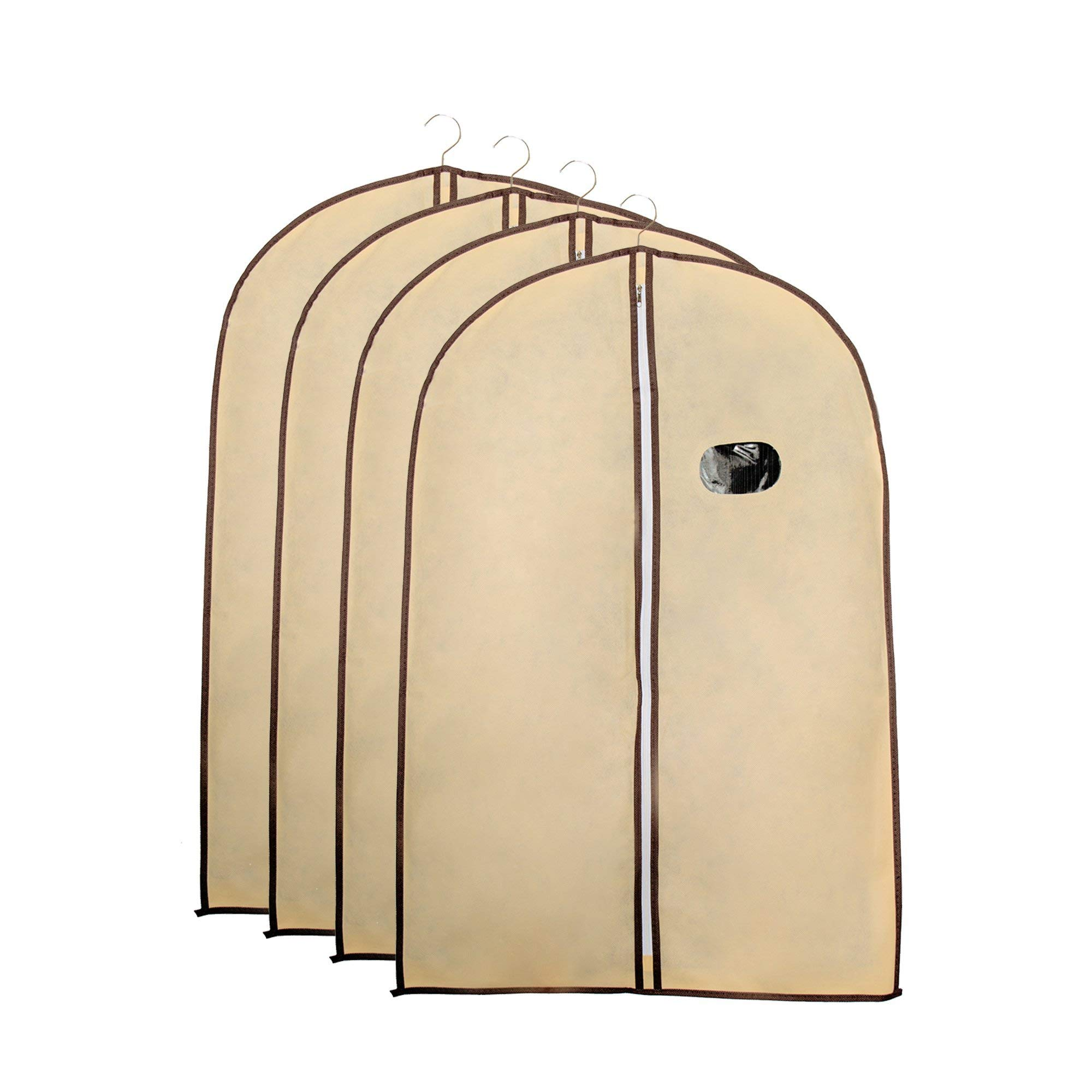 Garment Bags by Home Zone - 4 Pack of Breathable Garment Bag Clothes Covers - Protect Garments, Suits and Costumes - Ideal for Travel - Coffee & Cream Finish - Includes 4 Medium Size Garment Bags (90cms 60cms)