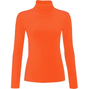 Re Tech UK Ladies Plain Ribbed Cotton Polo Turtle Roll Neck Tunic Top Jumper Full Sleeve