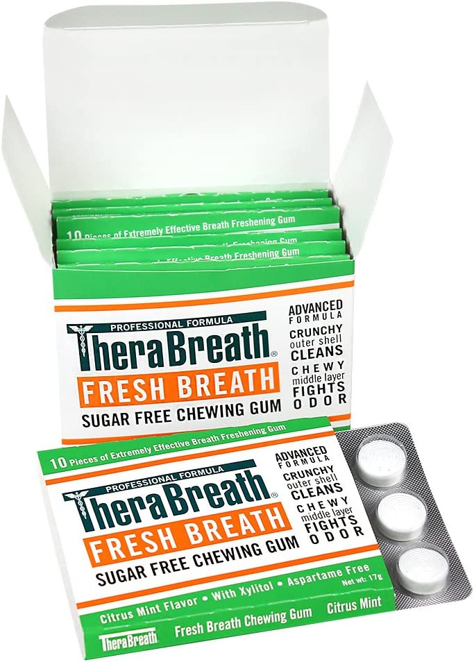 TheraBreath Fresh Breath Chewing Gum with ZINC, Citrus Mint Flavor, 60 Pieces: Health & Personal Care