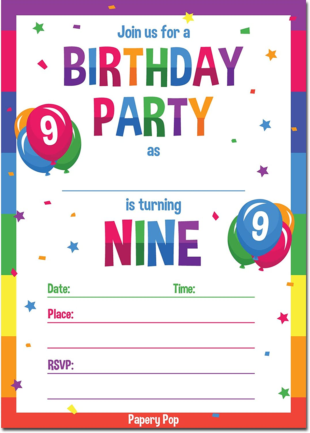9th Birthday Party Invitations with Envelopes (15 Count) - 9 Year ...