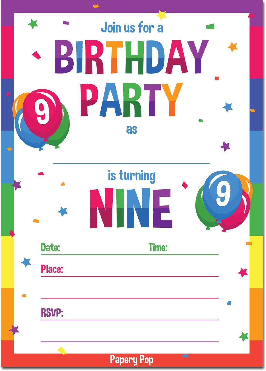 9th Birthday Party Invitations with Envelopes (15 Count) - 9 Year Old Kids Birthday Invitations for Boys or Girls - Rainbow