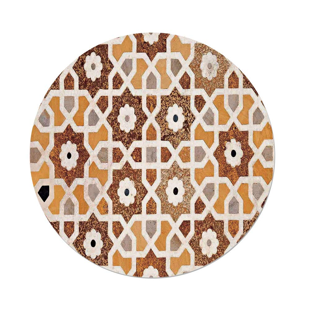 iPrint Polyester Round Tablecloth,Antique,Detail Inlay Geometric Carvings Asian Taj Mahal Tomb Architecture Decorative,Cream Orange Brown,Dining Room Kitchen Picnic Table Cloth Cover Outdoor Indo