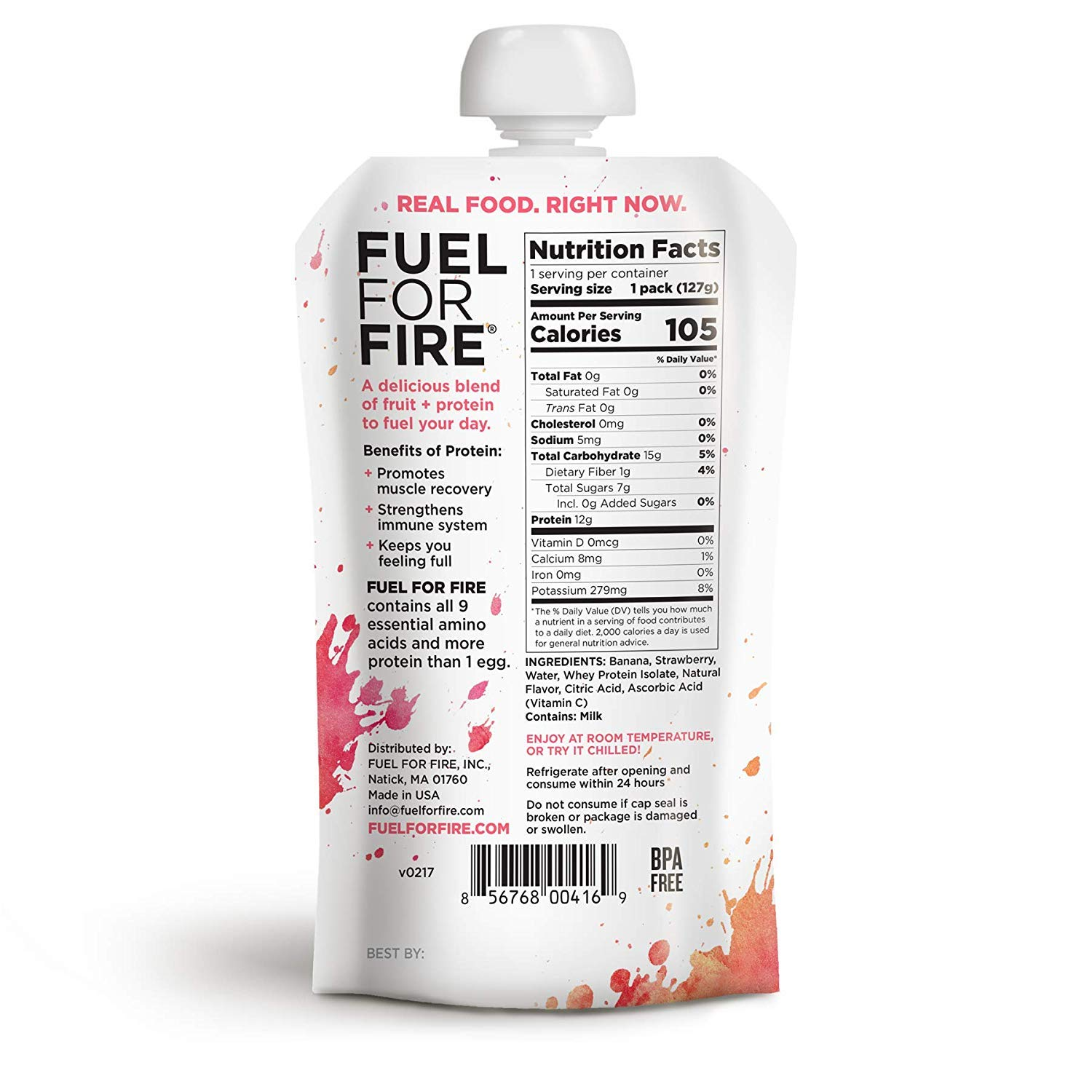 Fuel For Fire - Strawberry Banana (24 Pack) Fruit & Protein Smoothie Squeeze Pouch | Perfect for Workouts, Kids, Snacking - Gluten-Free, Soy-Free, Kosher (4.5 ounce pouches) by FUEL FOR FIRE