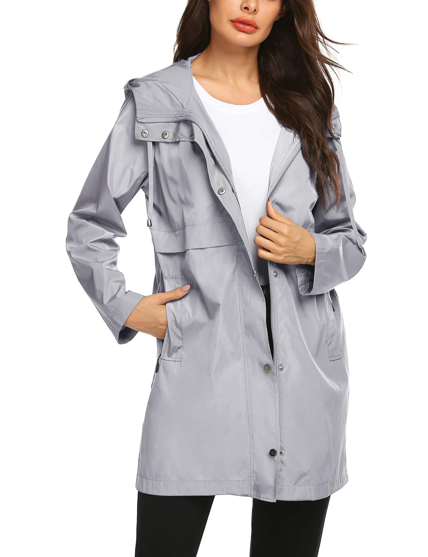 Waterproof Rain Jacket Women Ladies Slim Fit Essential Wind Proof Trench Coat L Grey by Avoogue