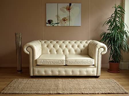 new full leather cream chesterfield two seater sofa settee furniture