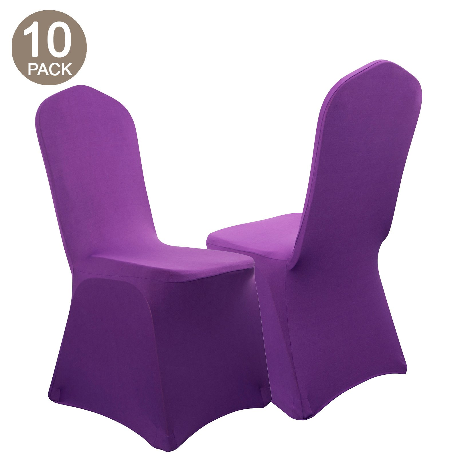 VEEYOO Set of 10 Universal Polyester/Spandex Fitted Stretch Chair Cover for Wedding Party Banquet Dining Room, Purple, Flat Front