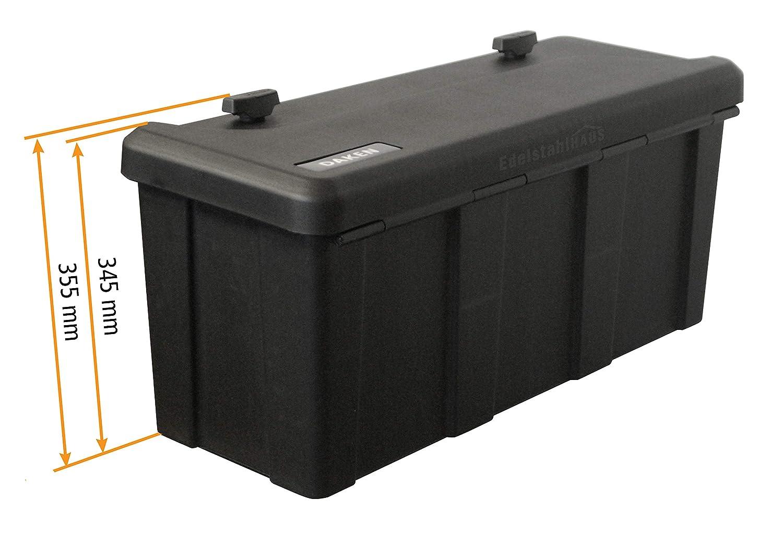 Deichselbox mit 2 Schl/össer Blackit L Werkzeugkasten f/ür Anh/änger Staukiste 50 ltr Anh/ängerbox 750 x 300 x 355 mm Montagesatz MON4002 Edelstahlhaus Daken B50-2