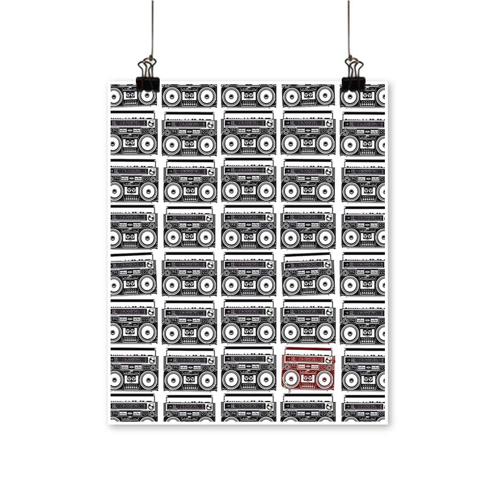 Hanging Painting Old School Tape Recorders Speakers Classic Urban Lifestyle Musical Celebration Image Rich in Color,28''W x 52''L/1pc(Frameless) by painting-home
