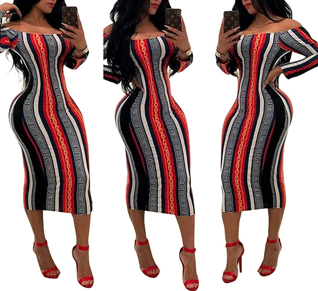 4f41db78f87 Women Sexy African Print Off Shoulder Long Sleeves Slim Bodycon Pencil Midi  Dress at Amazon Women s Clothing store