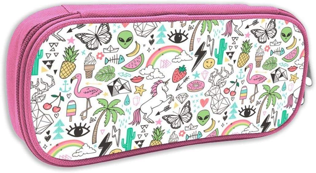 Estuche de lápices Infantil,Verano Doodle Triángulo geométrico Ciervo U0026 Unicornio Cactus del Arco Iris Flamingo Pineapple_2486, Rosado: Amazon.es: Juguetes y juegos