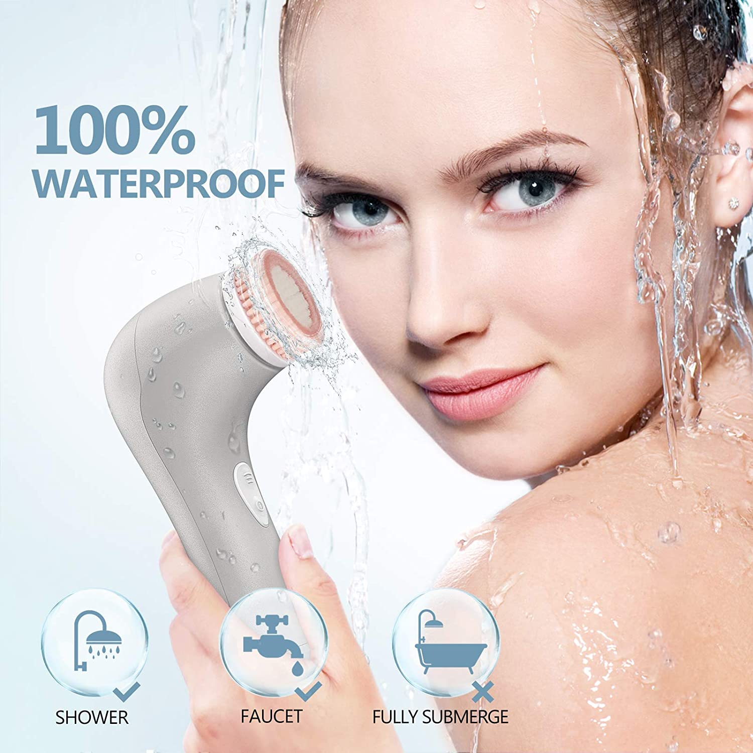Facial Cleansing Brush, Waterproof Face Wash Spin Brush with 7 Brush Heads for Deep Cleansing, (Grey)