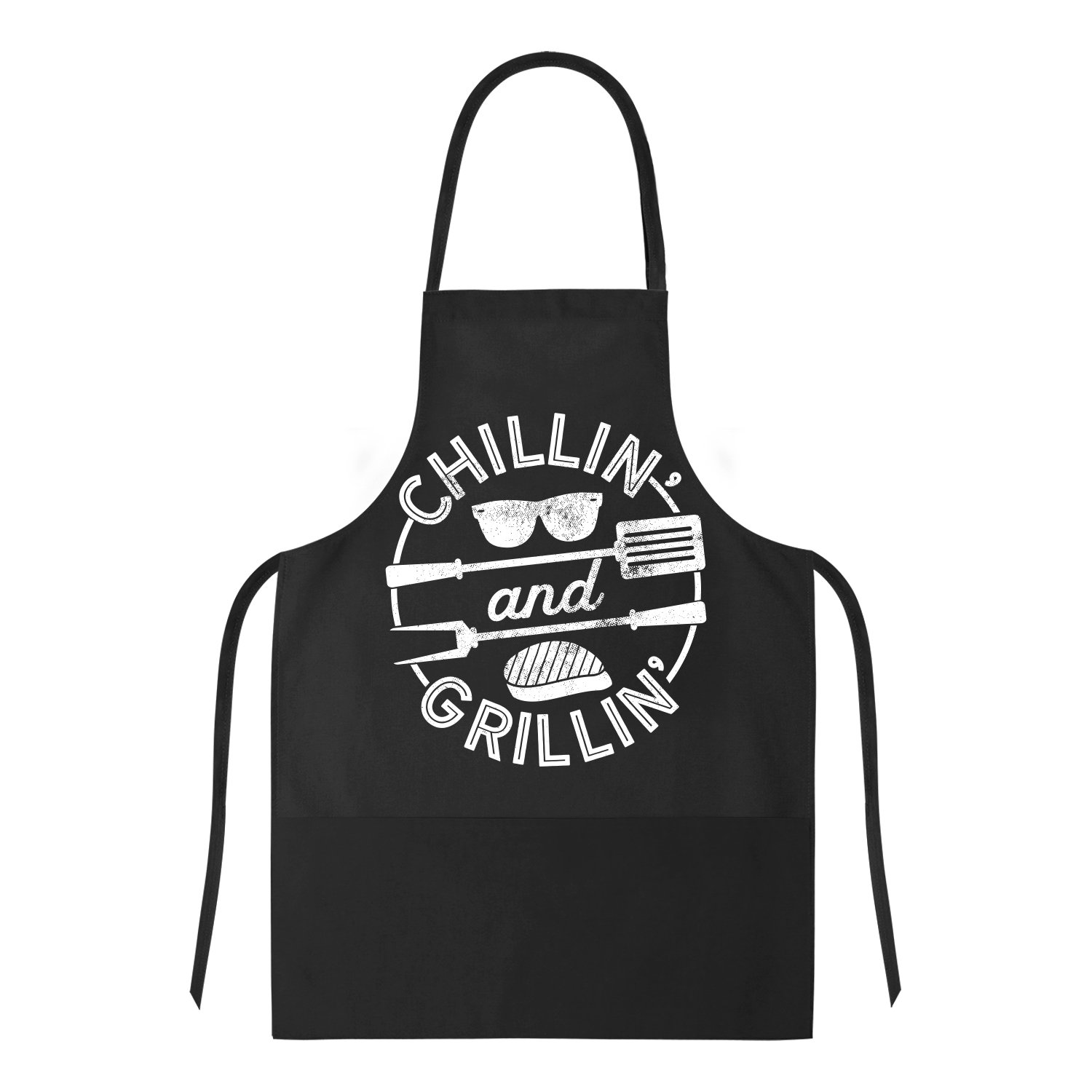 Cookout Apron Chillin And Grillin Tshirt Funny Outdoor Summer BBQ Smock For Guys-ONE SIZE