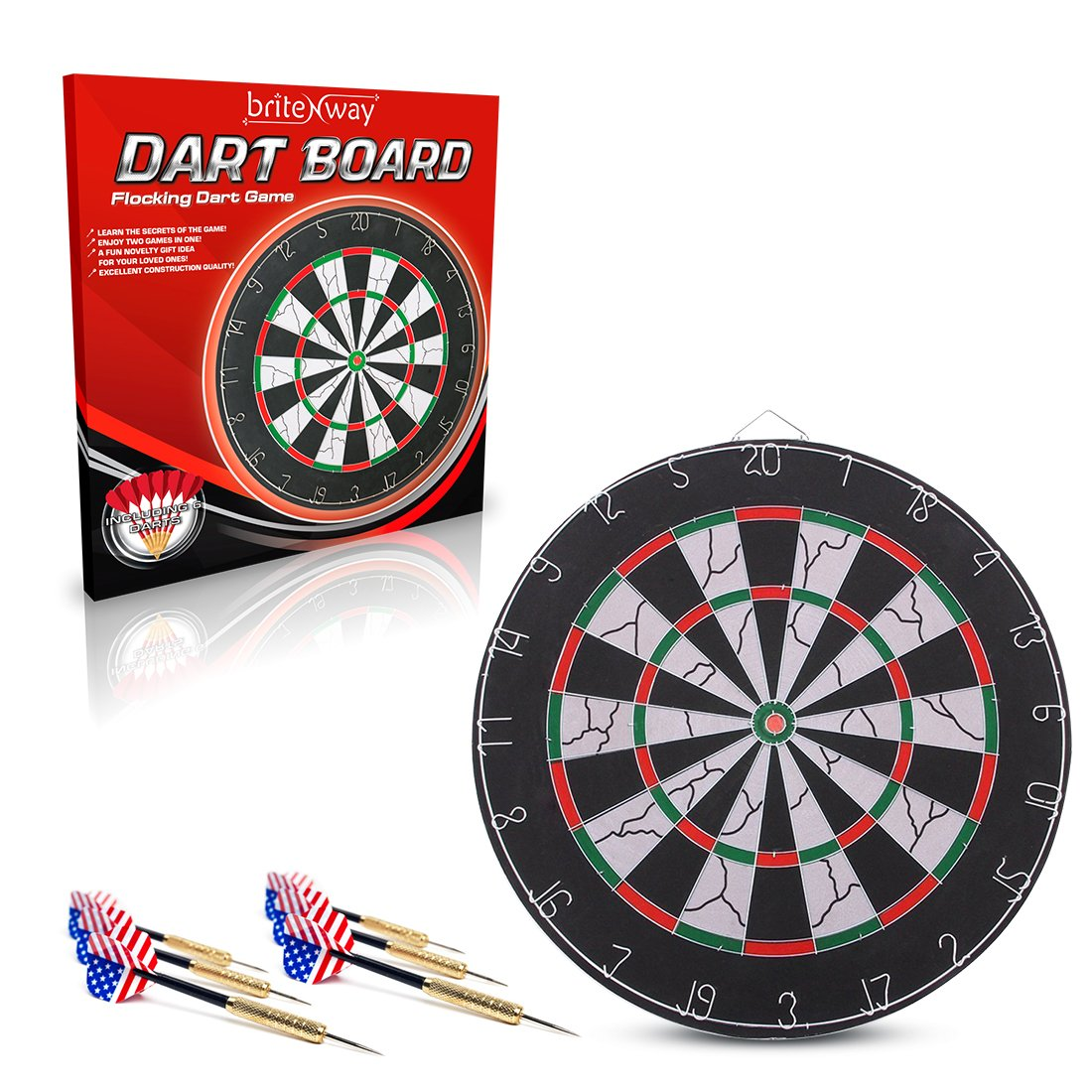 Premium Quality 18-Inch Champion Tournament Dart Board -6 Metal Darts included – Made Of Wood & Metal – Double-Sided Flocking Dartboard – Sturdy & Durable - Ideal For Beginners' Training & Practice