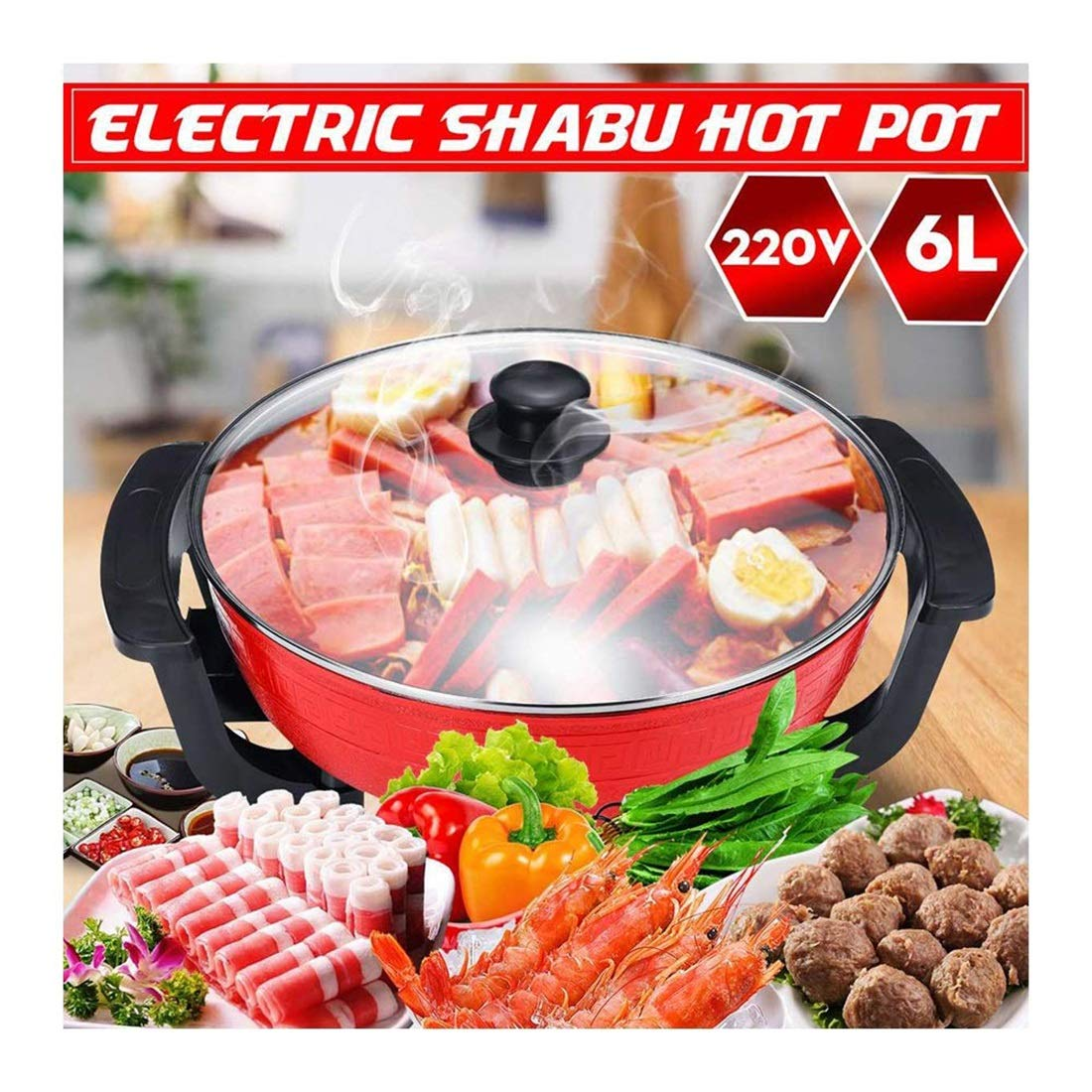 Non-Smoking Electric Hot Pot, Non-Stick Cookware Temperature Adjustable Family Dinner Hot Pot Kitchenware 220V 6L Capacity 1-10 People Can Use by HXD