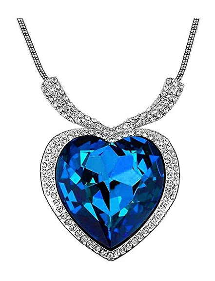 Shining Diva White Gold Plated Blue Sapphire Titanic Heart Necklace for Women Chains & Necklaces at amazon