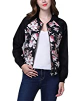 Women Bomber Jacket Autumn Flora Print Long Sleeve Jacket Retro Slim Baseball Jackets Coats