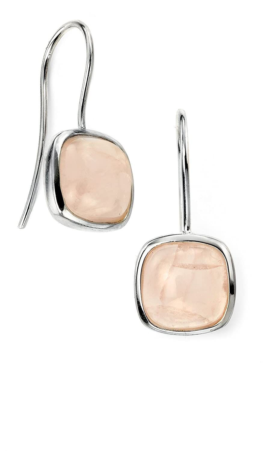 Elements Silver Women's 925 Sterling Silver Rose Gold Square Cabochon Moonstone Earrings xlk7P1sr