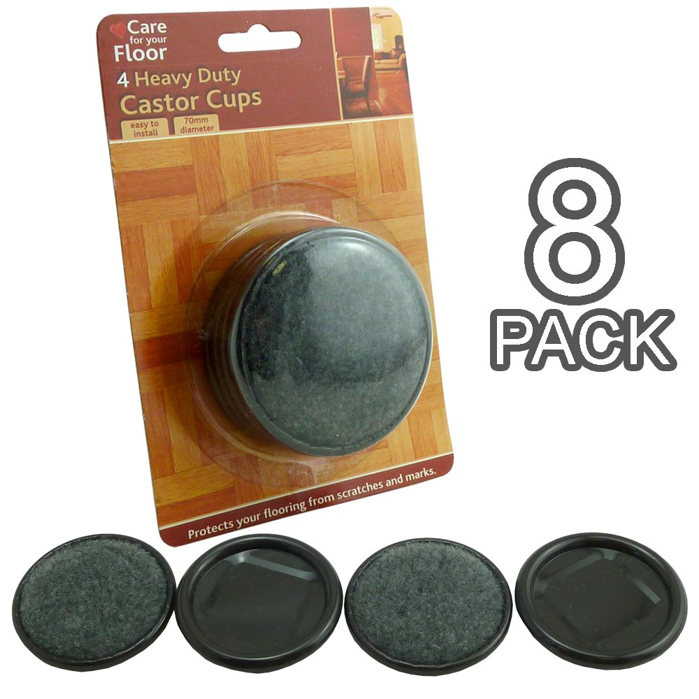 Pack of 8 - New Heavy Duty Castor Cups - Diameter : 70 mm - Great For All Types Of Flooring Rose Evans